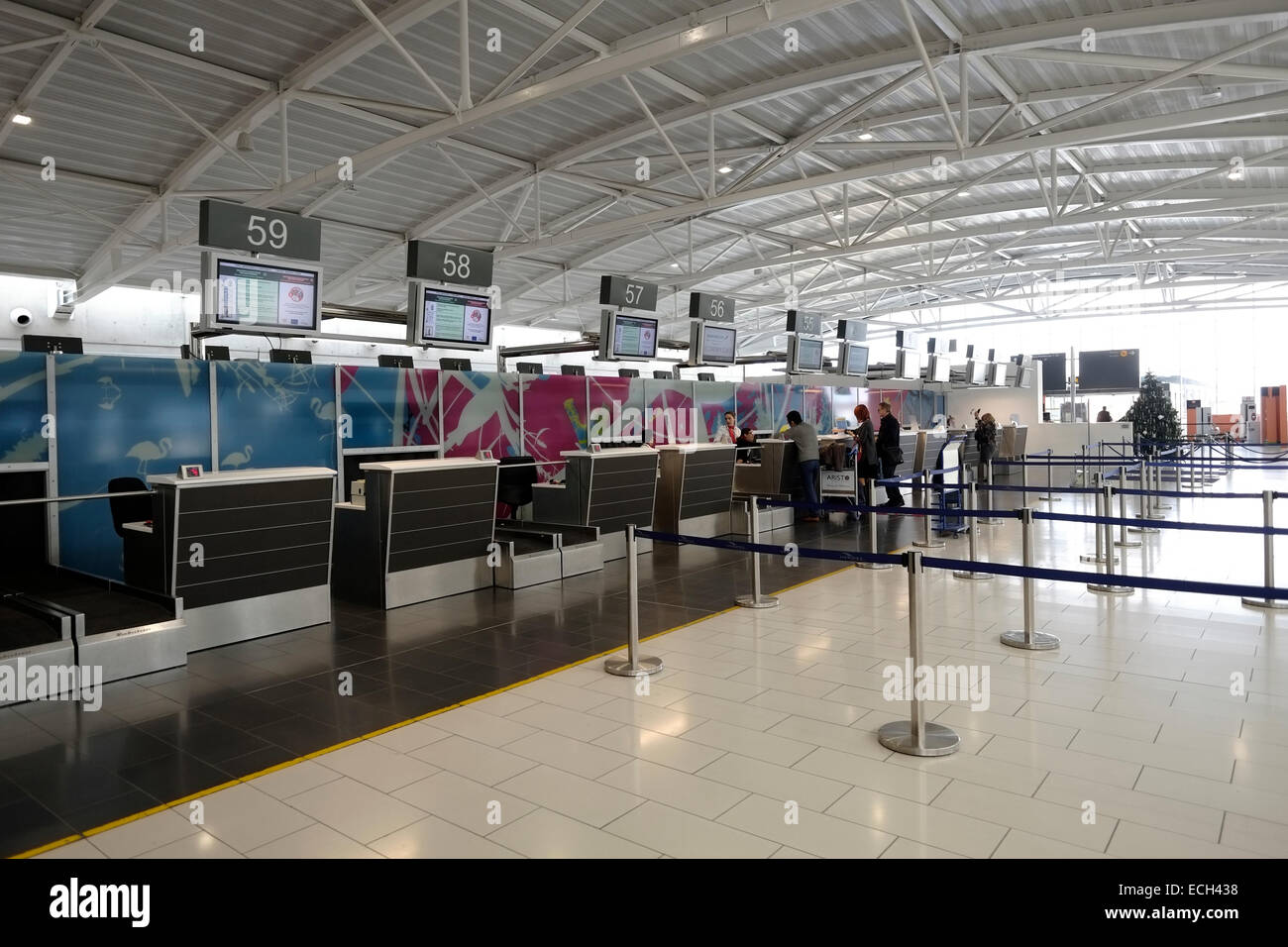 Check in counters in Larnaca International Airport Cyprus - Stock Image