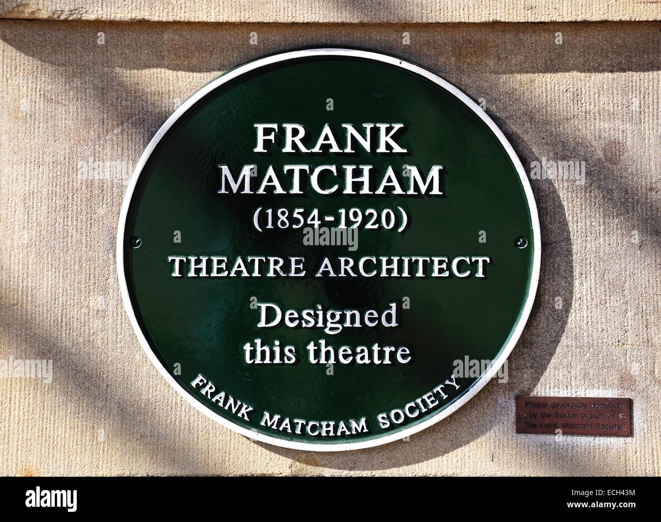 Frank Matcham theatre architect sign for the Opera House, Buxton, Derbyshire, England, UK, Western Europe. - Stock Image