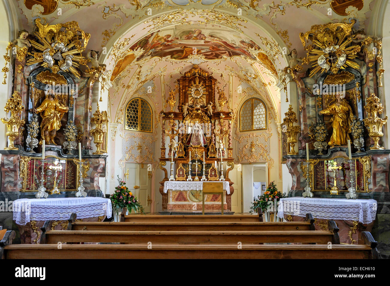Interior with altars, chapel with Rococo interiors Pilgrimage Church of the Assumption, Hohenpeißenberg, Hoher - Stock Image