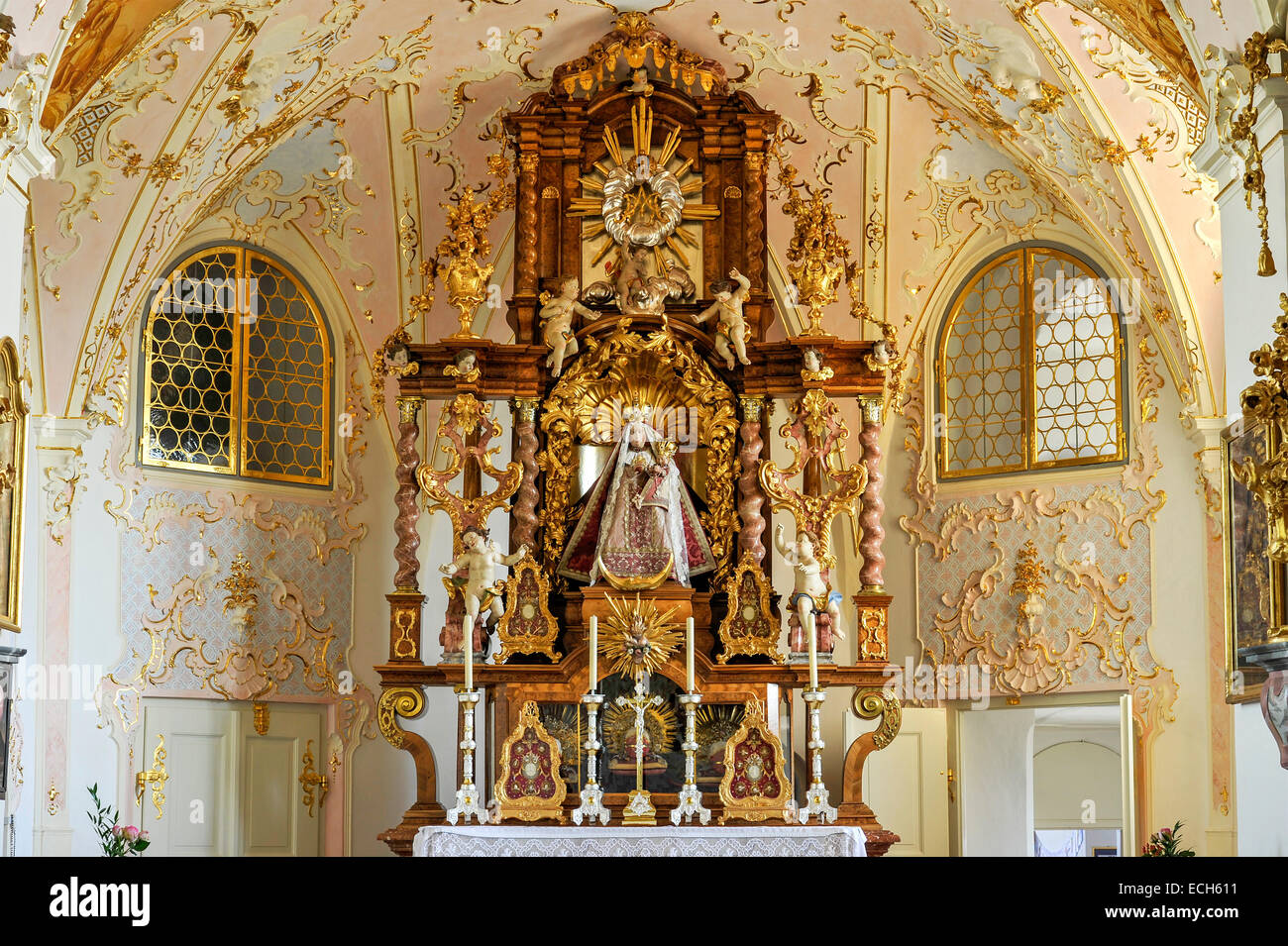 Main altar with painting, chapel with Rococo interiors Pilgrimage Church of the Assumption, Hohenpeißenberg, - Stock Image