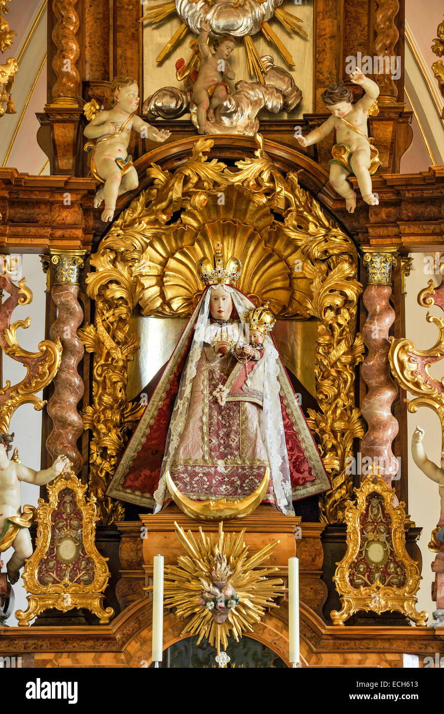 Main altar with painting, Grace Chapel with Rococo interiors, Pilgrimage Church of the Assumption, Hohenpeißenberg - Stock Image