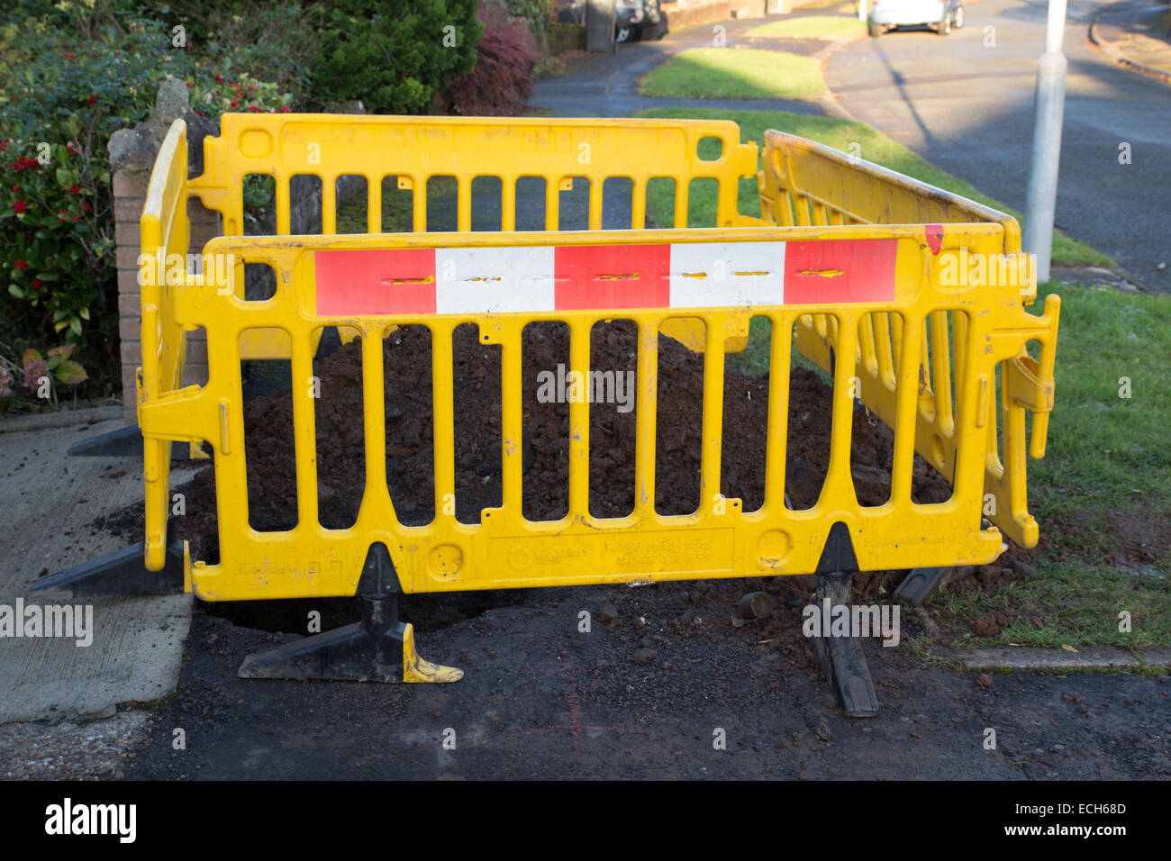 Road works caused by a gas leak. - Stock Image