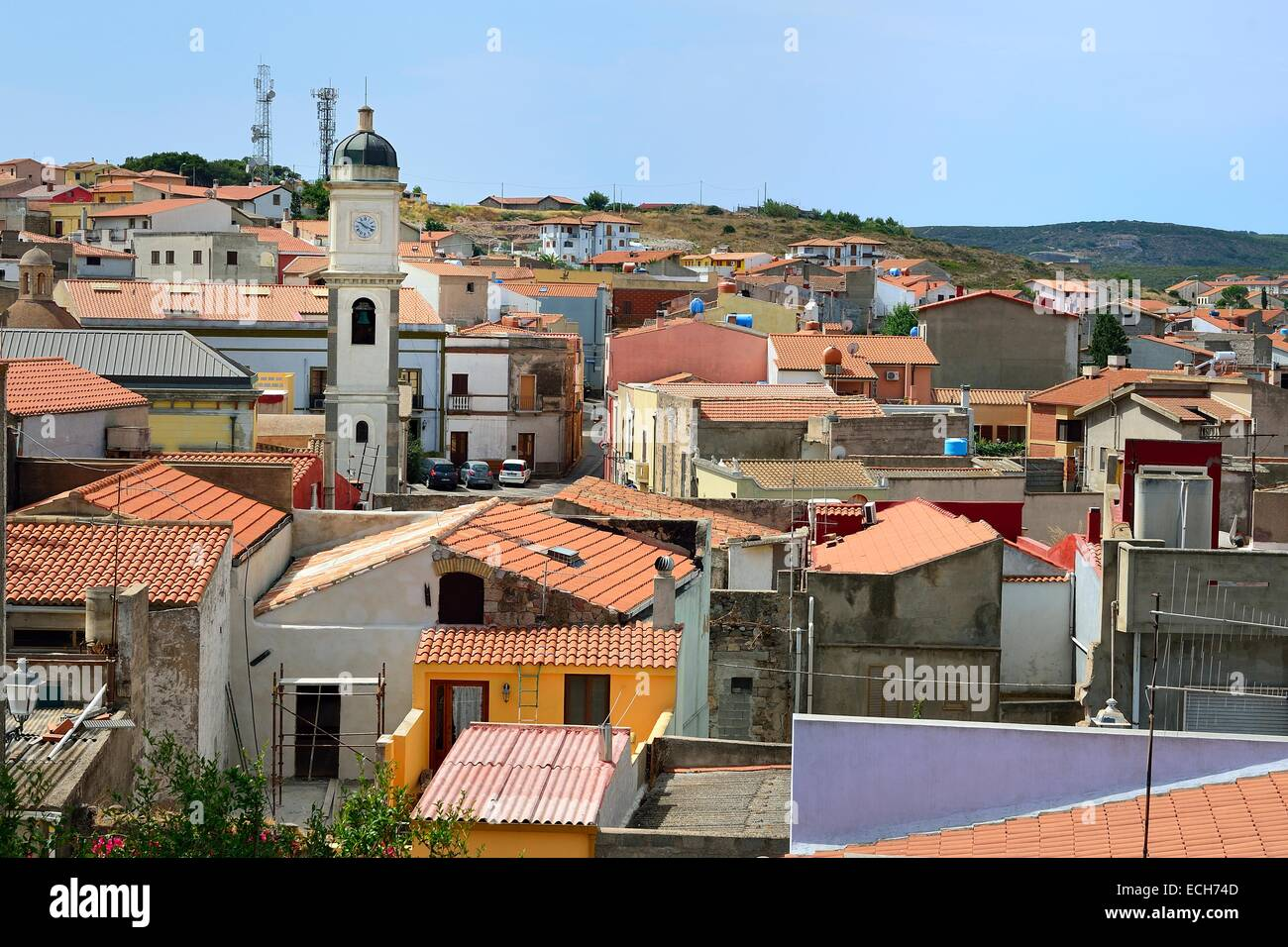 Overview of the town with the Basilica of Sant'Antioco, Isola di Sant'Antioco, Province of Carbonia - Stock Image