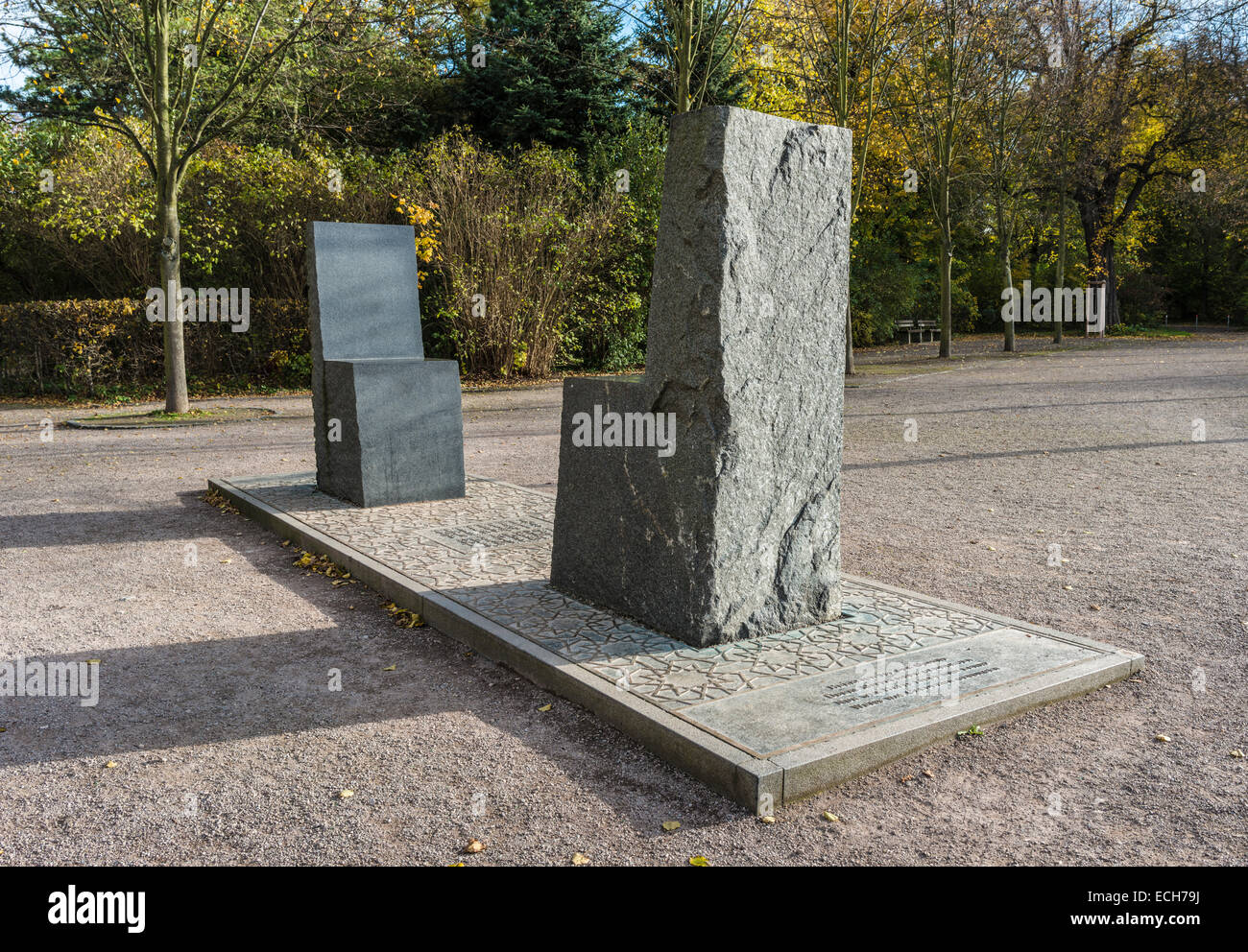 Hafez monument, two chairs from a block of granite, bronze base plate with verses of Goethe and Hafez, by Ernst - Stock Image