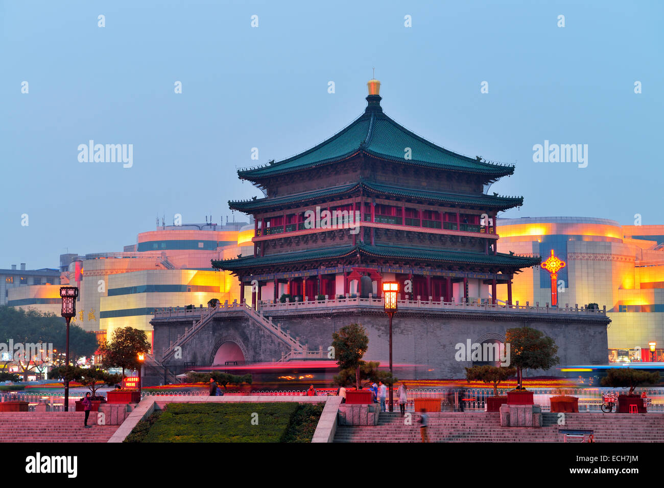 Bell Tower, Xi'an, Shaanxi Province, China - Stock Image