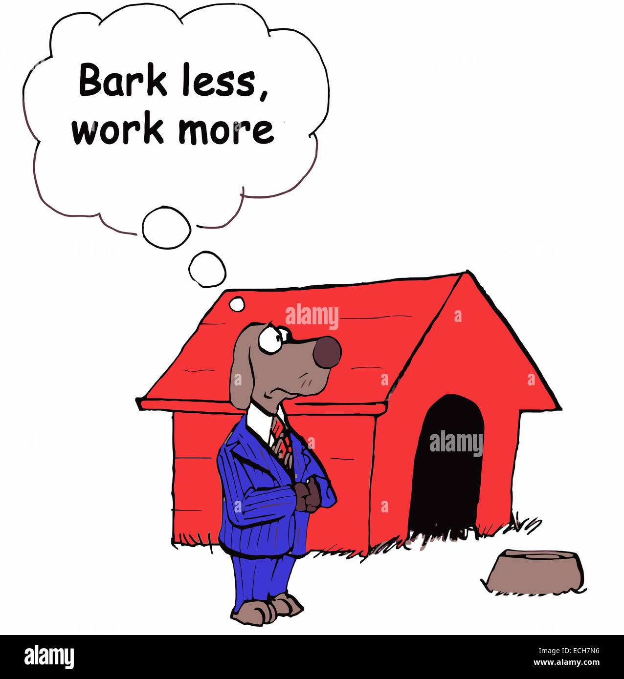 Dog, as businessman, is reminding himself to work more and gossip less. - Stock Vector