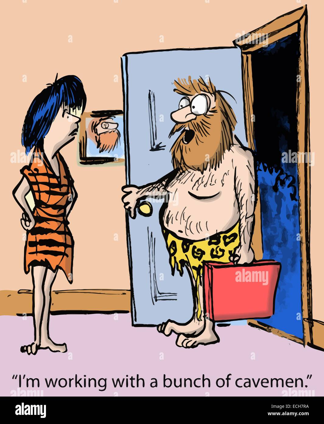 'I'm working with a bunch of cavemen.' - Stock Vector