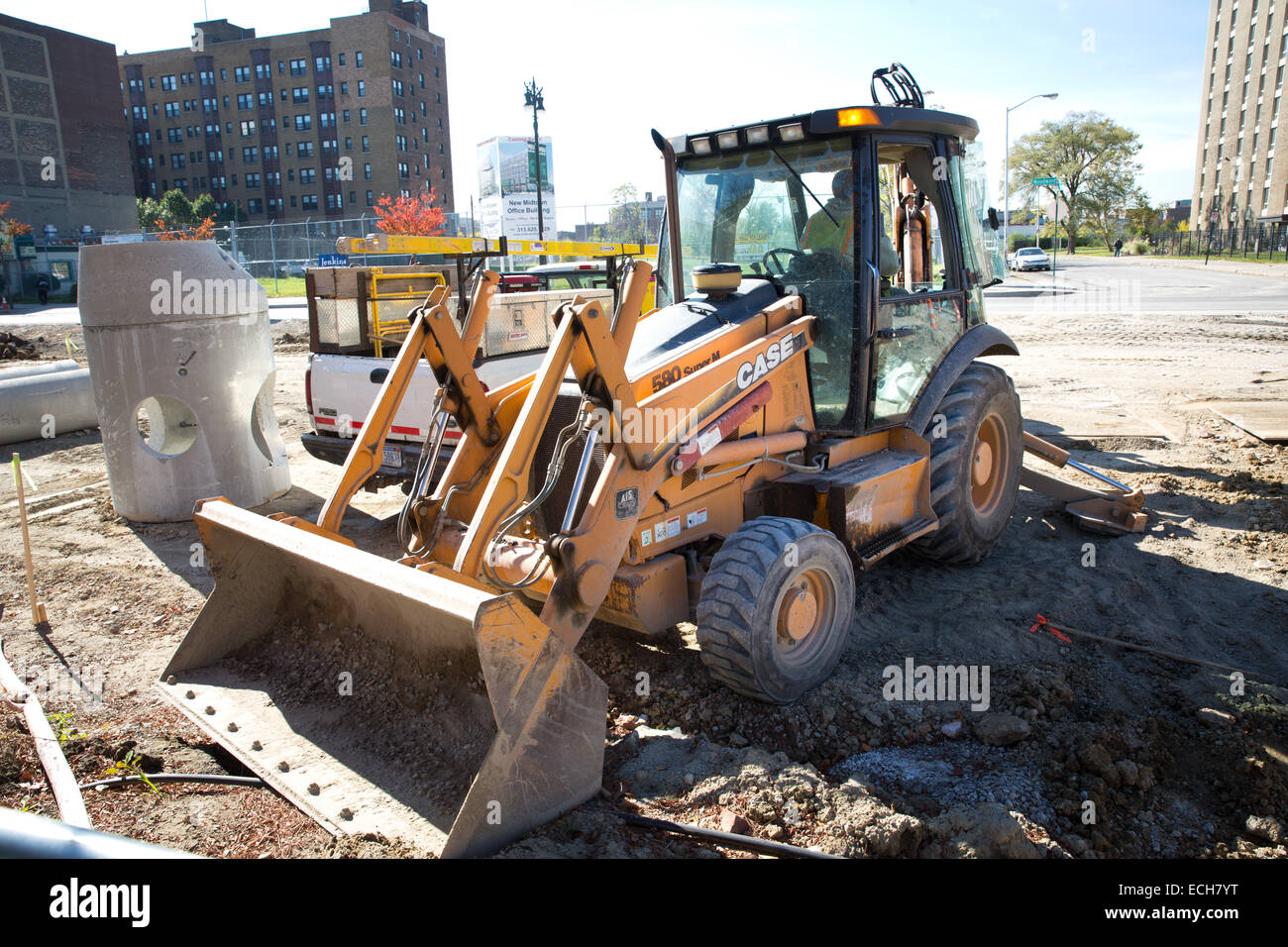 Streetcar project 'M-1 Rail' on Woodward Ave, Detroit, Michigan, USA. Oct. 23, 2014. - Stock Image