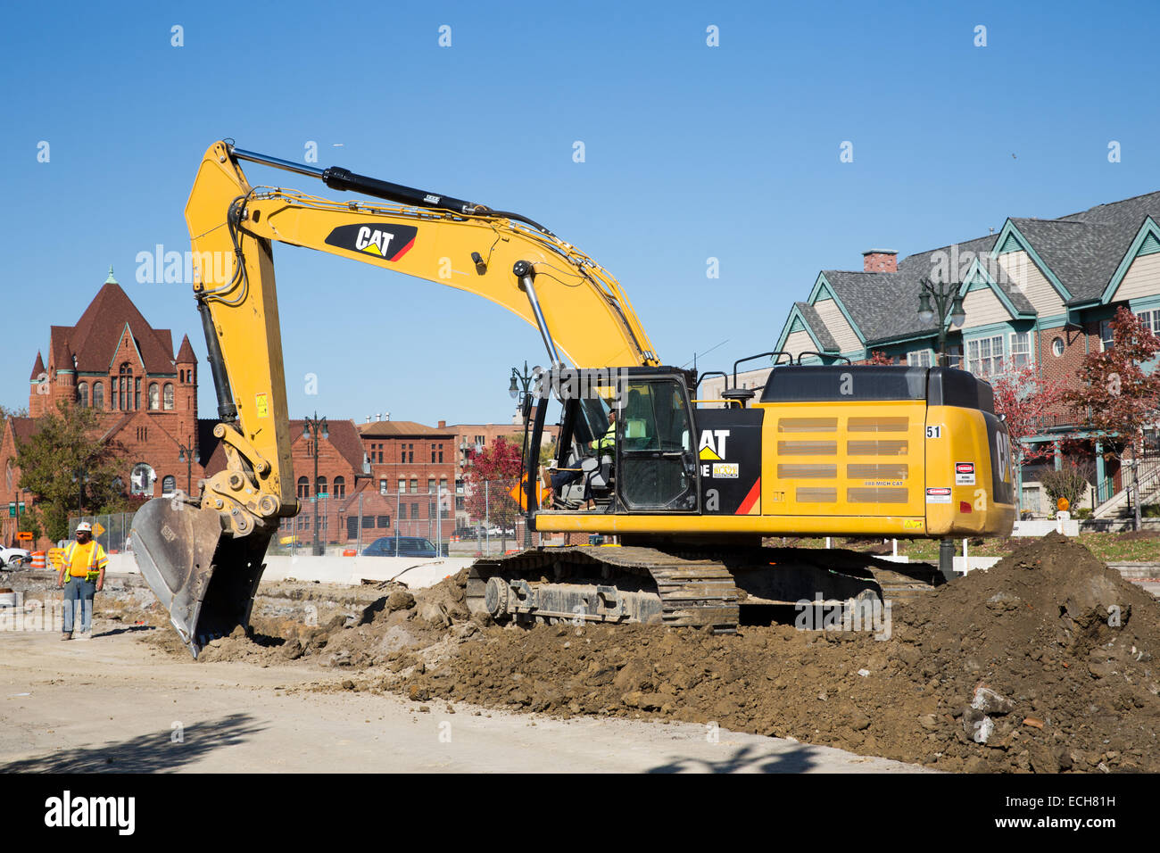 Caterpillar 349E L excavator on the M-1 Rail streetcar project, Detroit, MI, USA, Oct. 23, 2014. - Stock Image