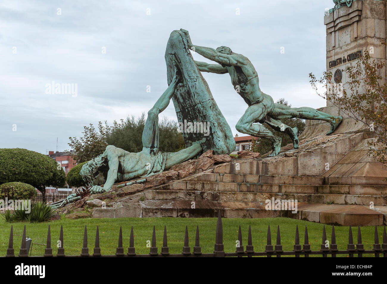 Analogy to the struggle of man against the sea represented in this monument, by neptune in Las Arenas Getxo, Bilbao, - Stock Image