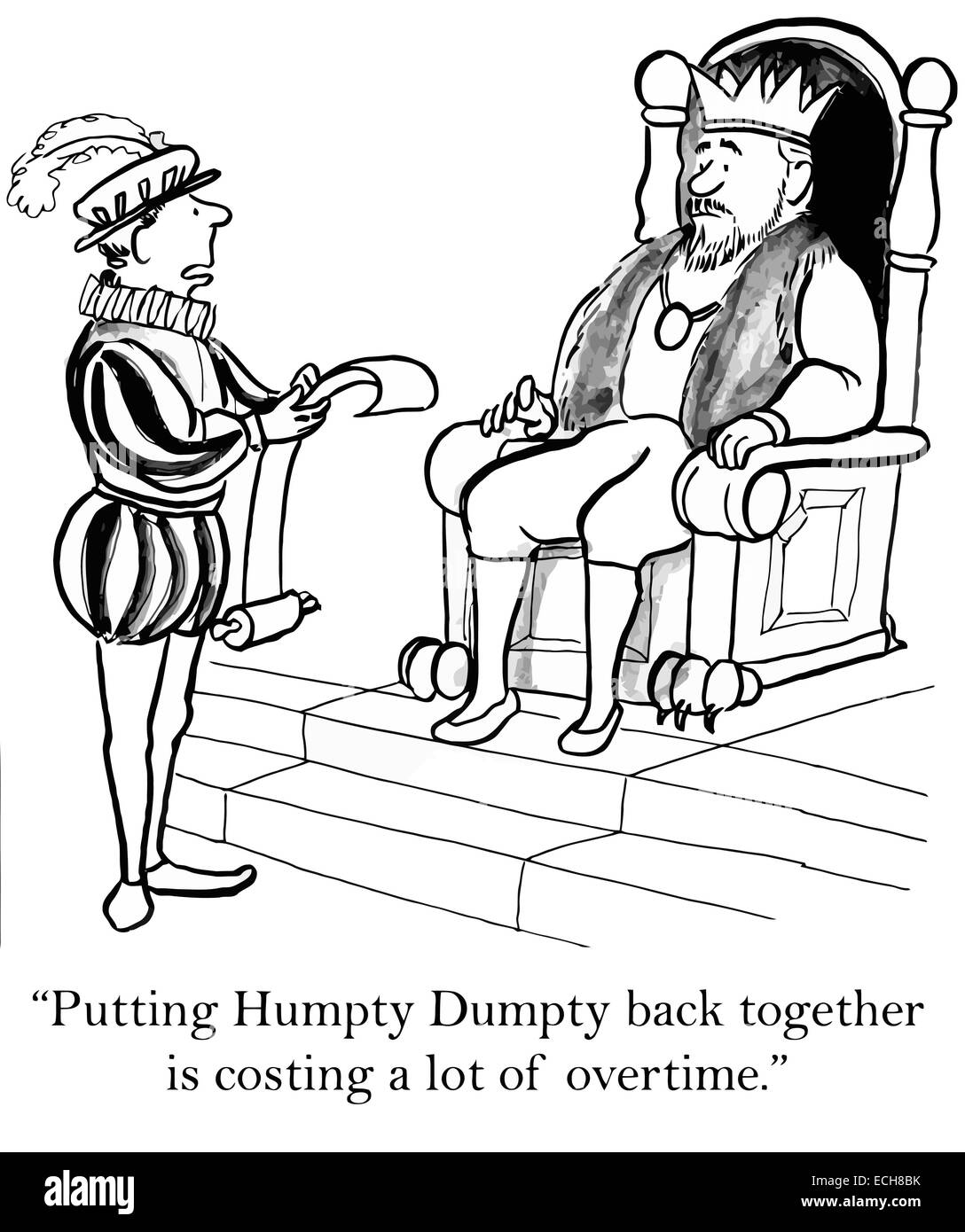 """""""Putting Humpty Dumpty back together is costing a lot of overtime."""" Stock Vector"""