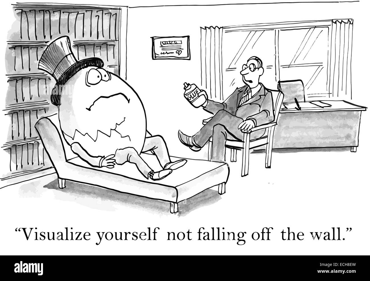 "The therapist says to Humpty Dumpty, ""Visualize yourself not falling off the wall"". Stock Vector"