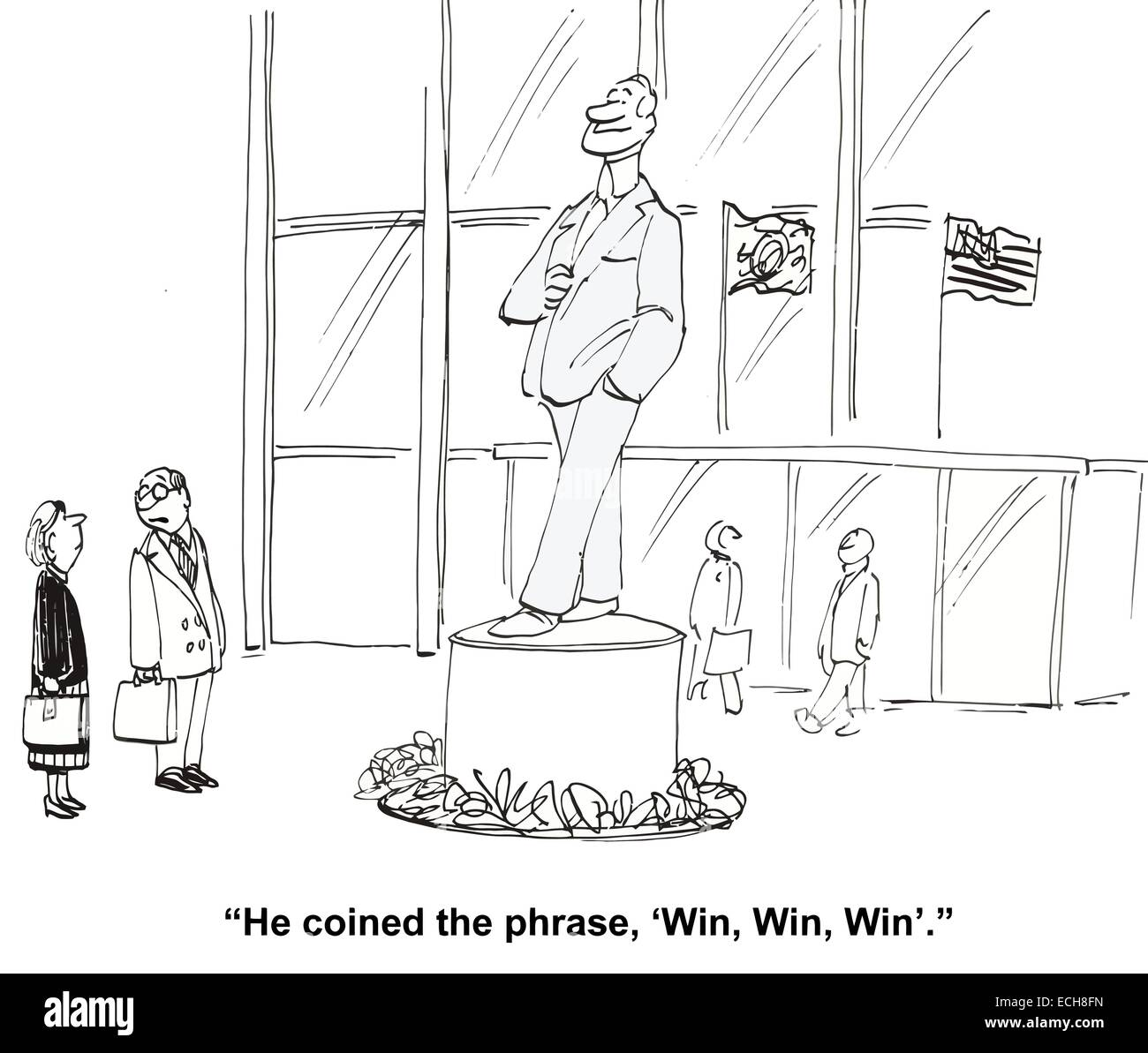 'He coined the phrase, 'win, win, win'.' - Stock Vector
