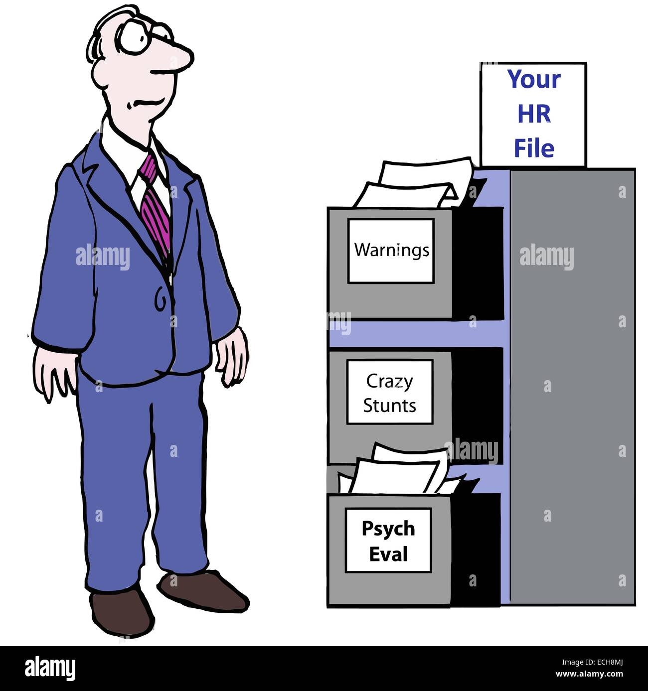 Your HR File:  warnings, crazy stunts, psych eval - Stock Vector