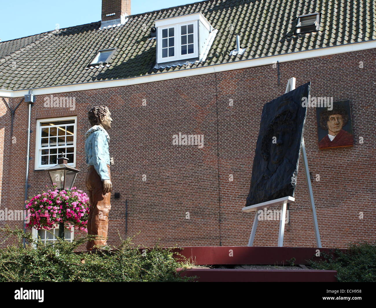 Rembrandt van Rijn monument at  Rembrandtplaats in his birthplace, the city of  Leiden, The Netherlands - Leiden Stock Photo
