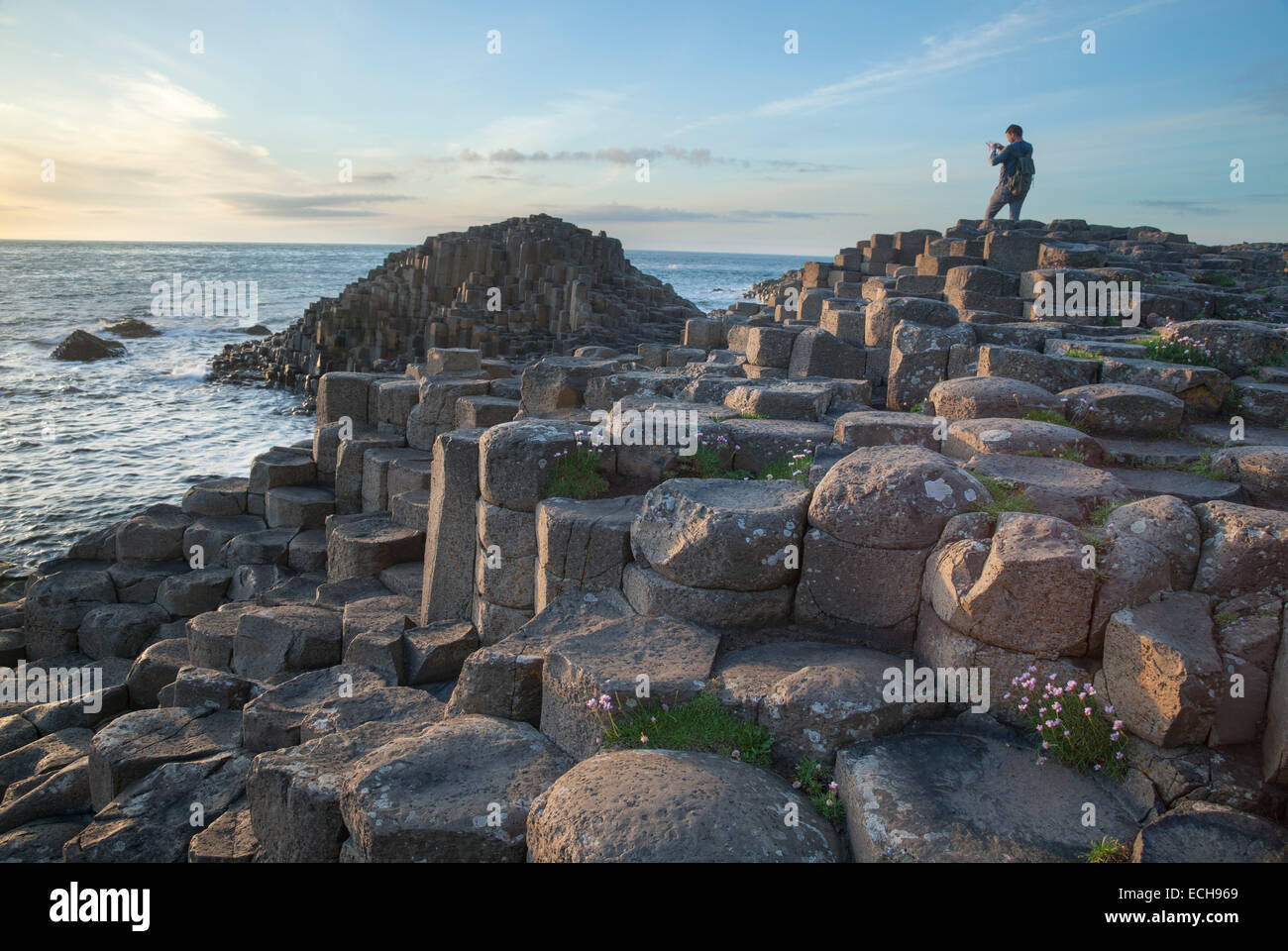 Photographer at the Giant's Causeway, Causeway Coast, County Antrim, Northern Ireland. - Stock Image