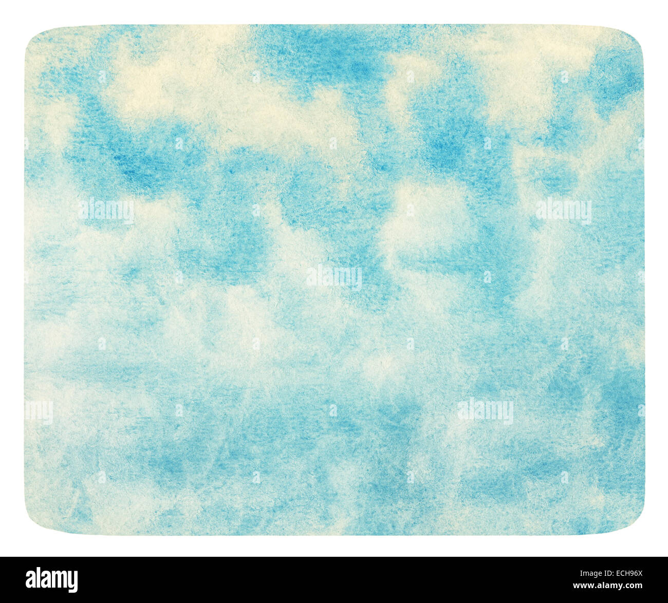 Blue watercolor cloud and sky. - Stock Image
