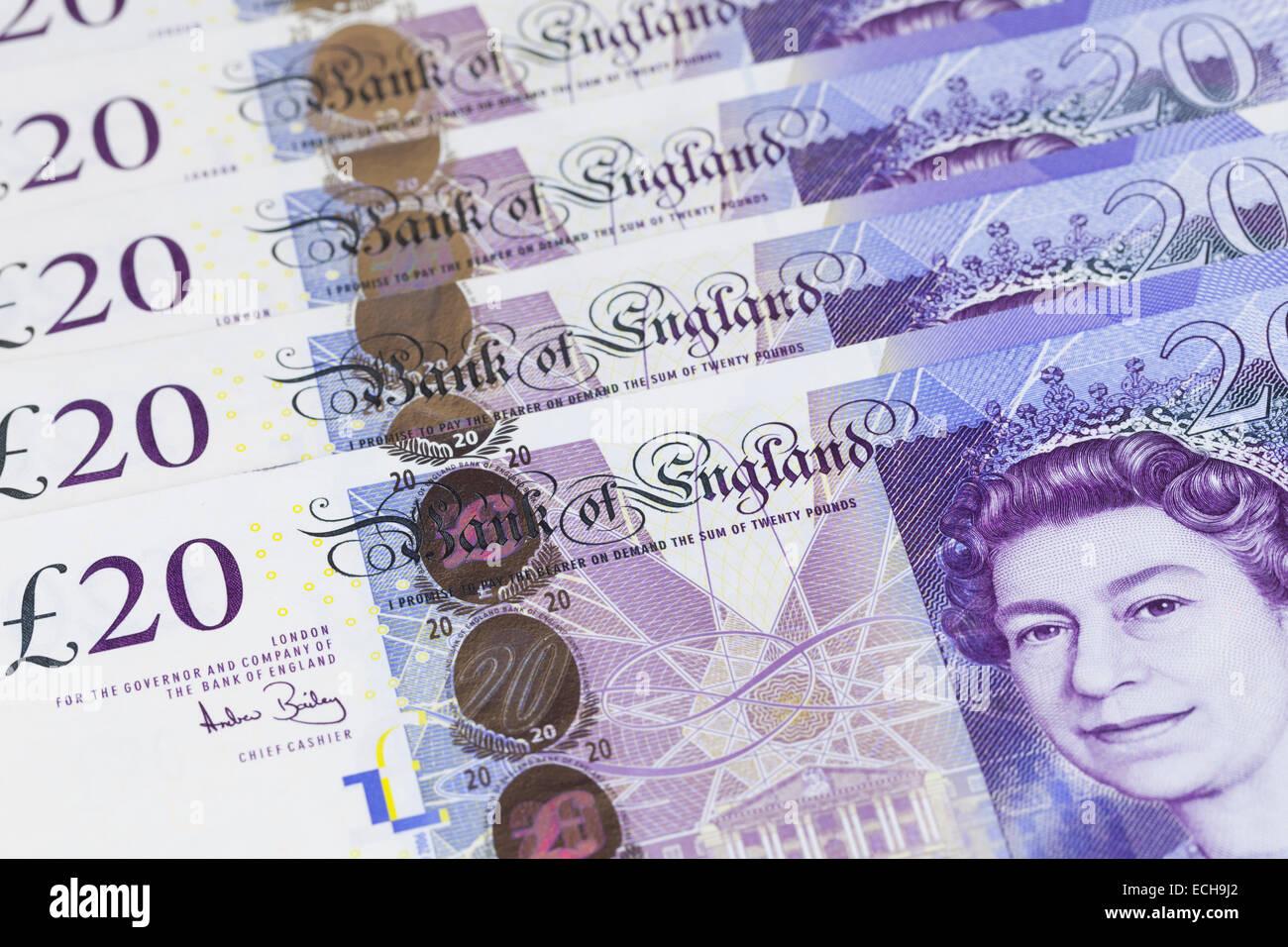 British twenty pound notes - Stock Image