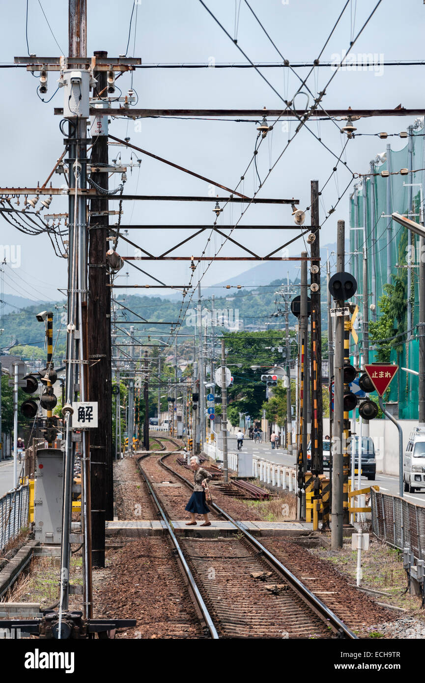 Kyoto, Japan. The Randen Tram Line connects the city to Arashiyama in the west. Part of the Keifuku Electric Railroad Stock Photo
