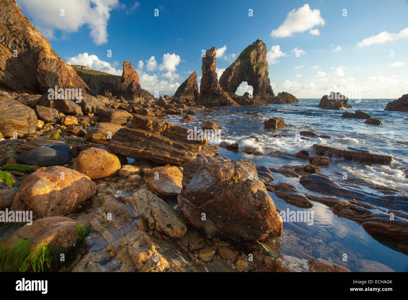 Evening light on the rock formations of Crohy Head, County Donegal, Ireland. Stock Photo
