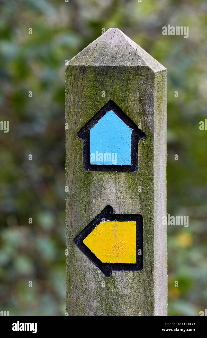 Footpath and bridleway direction post. Bookham Common, Surrey, England. - Stock Image