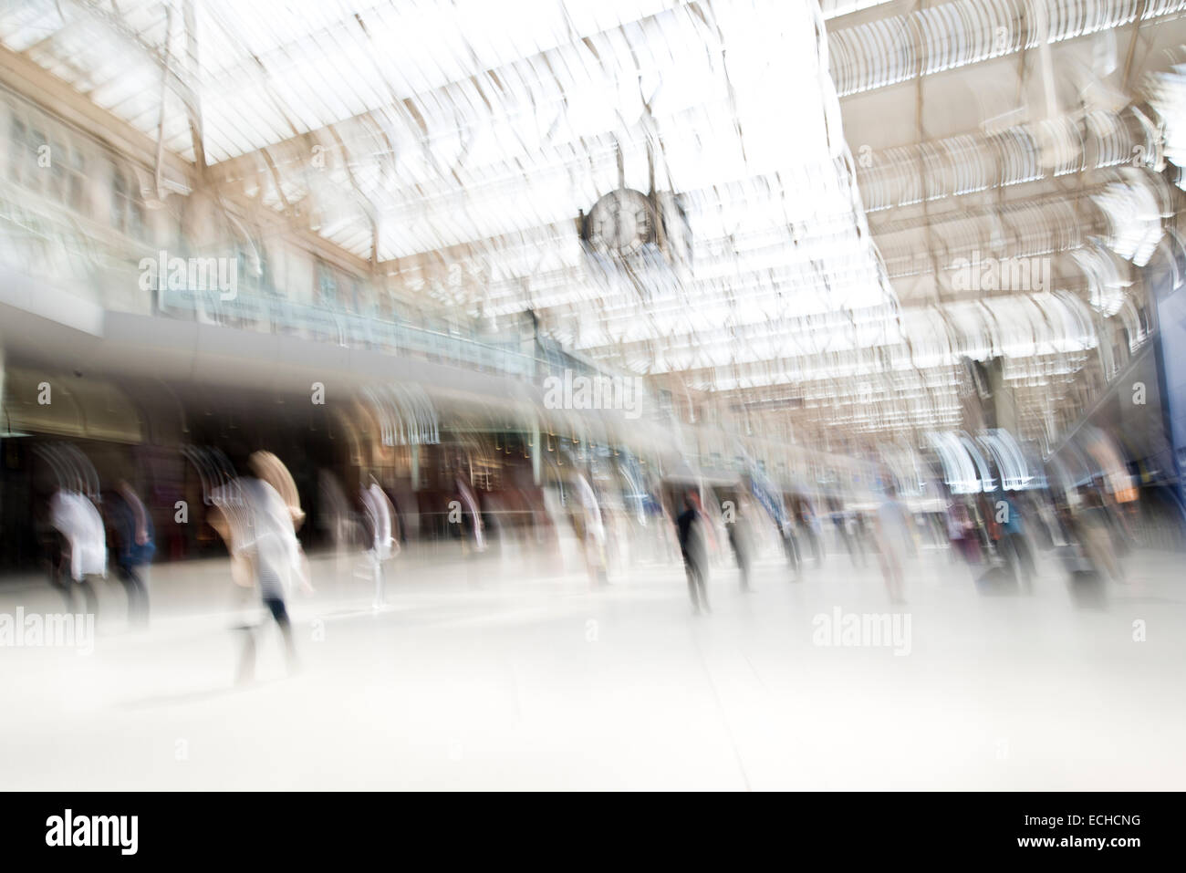 Waterloo Station in rush hour with motion blur - Stock Image