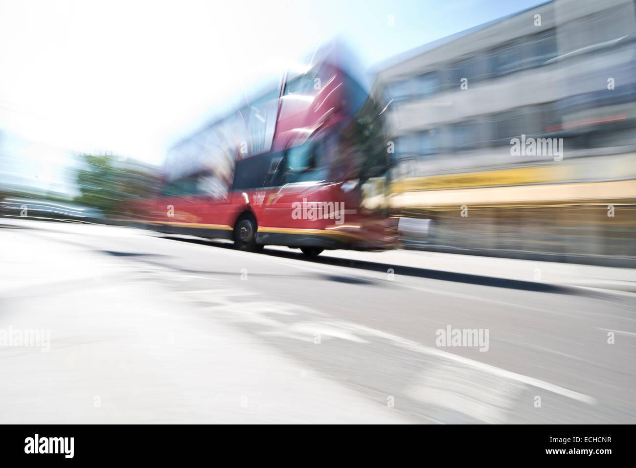 London bus motion blur - Stock Image
