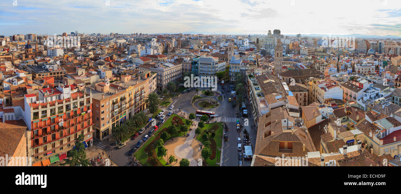 High viewpoint panorama of Valencia Spain and the Plaza de la Reina from the Miguelete Bell Tower - Stock Image