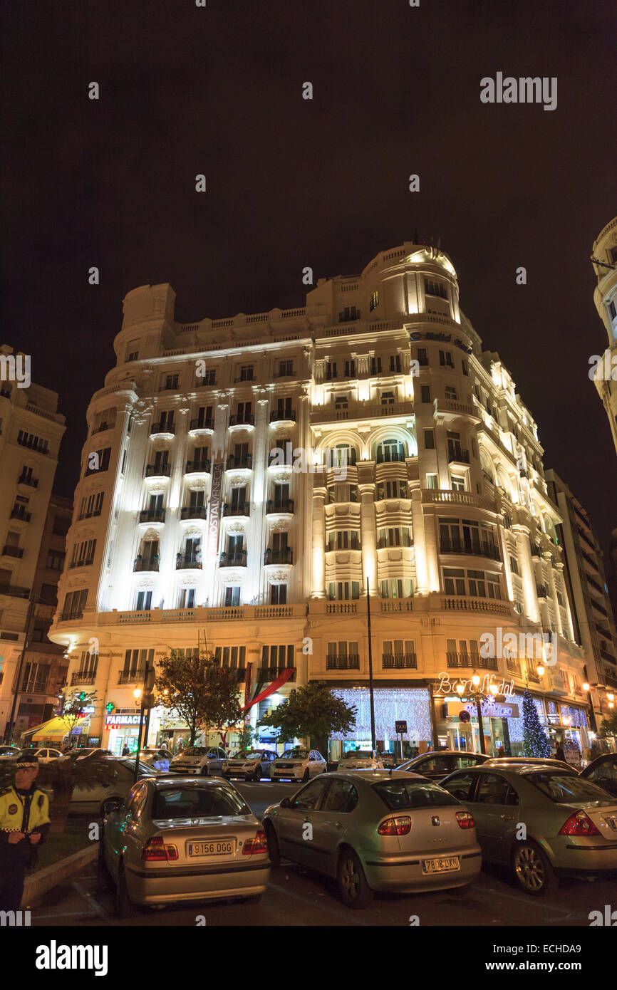 Apartment block in Valencia city centre at night - Stock Image