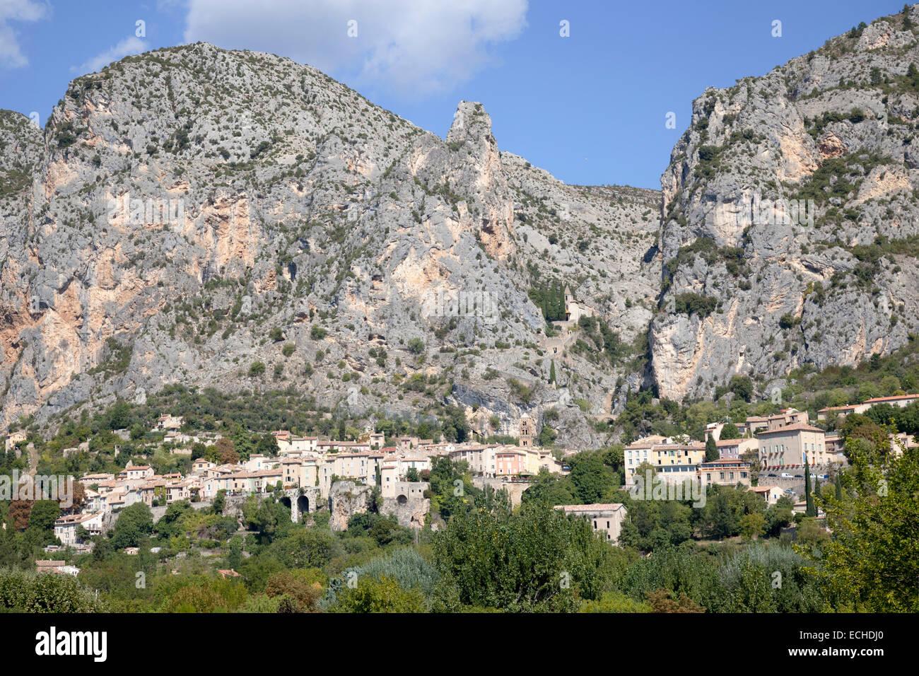 An overview of Moustiers Sainte Marie, a picturesque Provençal village (Haute Provence Alps - France). Moustiers - Stock Image