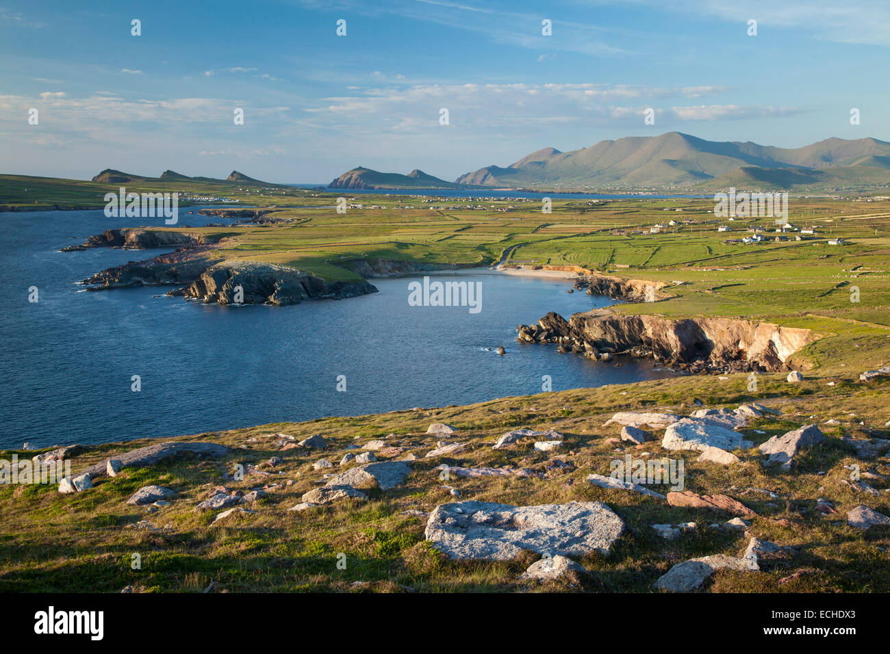 View of Brandon Mountain and the Dingle Peninsula from Clogher Head, County Kerry, Ireland. - Stock Image