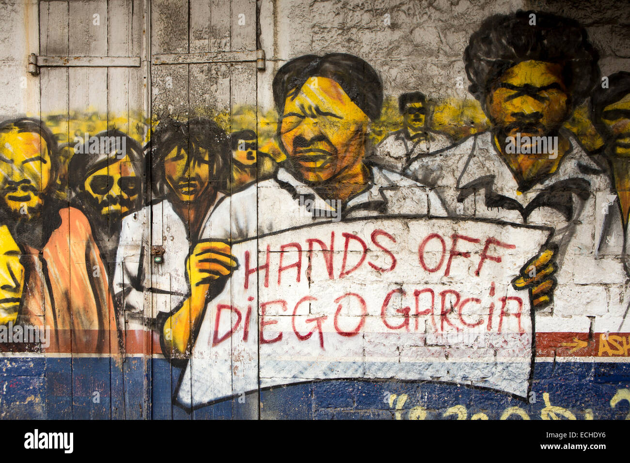 Mauritius, Mahebourg, politics, Chagos Islanders, hands off Diego Garcia protest mural on house wall - Stock Image
