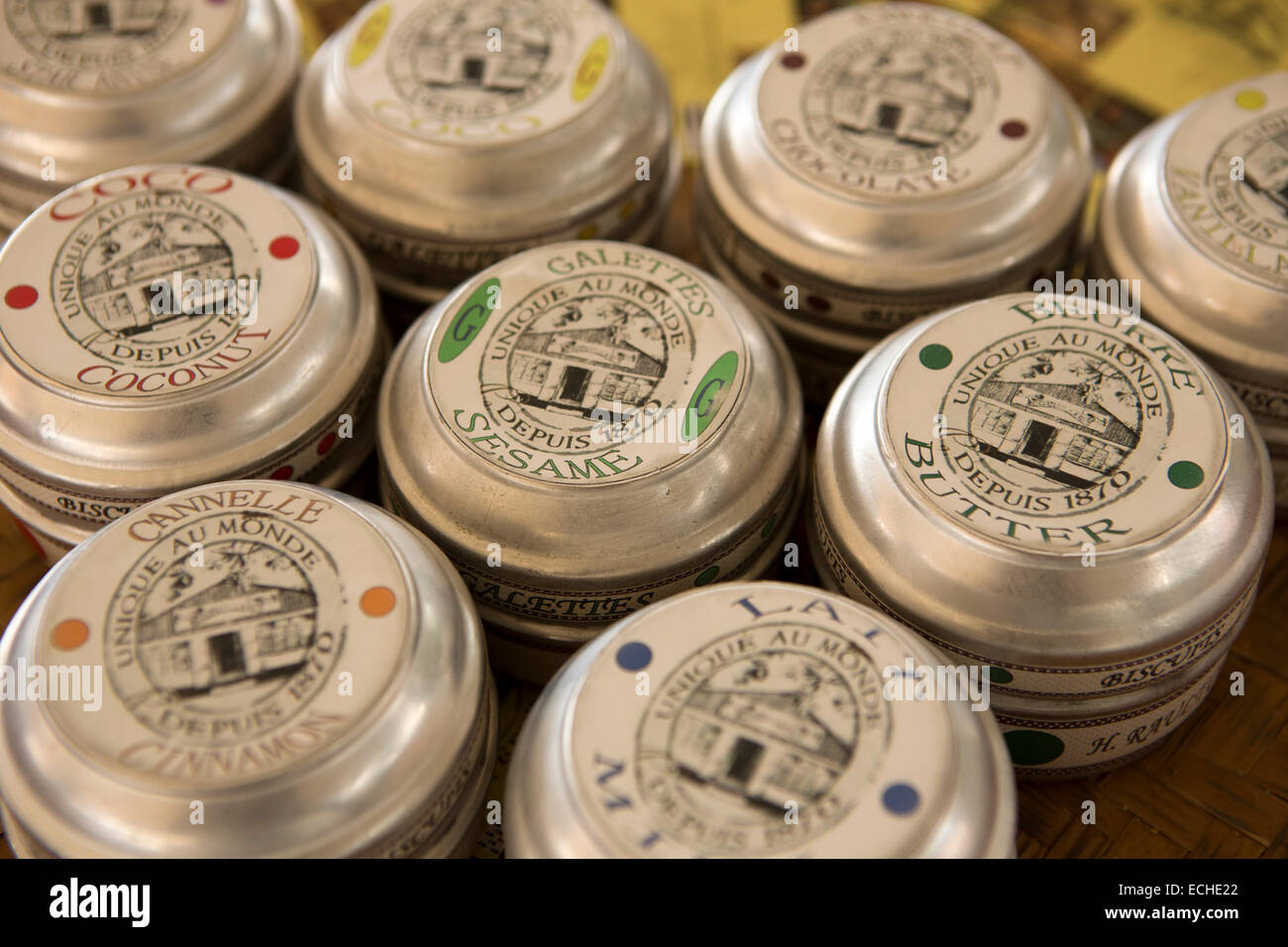 Mauritius, Mahebourg, Biscuiterie Rault Manioc Biscuit factory, tins of biscuits Stock Photo