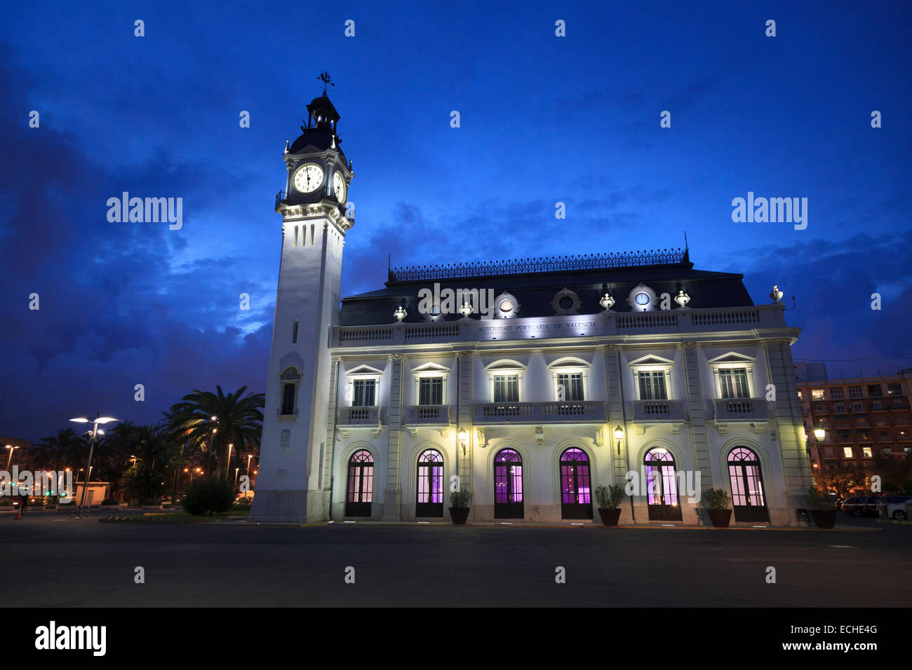 Exterior of the Port Authority of Valencia Building at dusk with it's clock tower - Stock Image