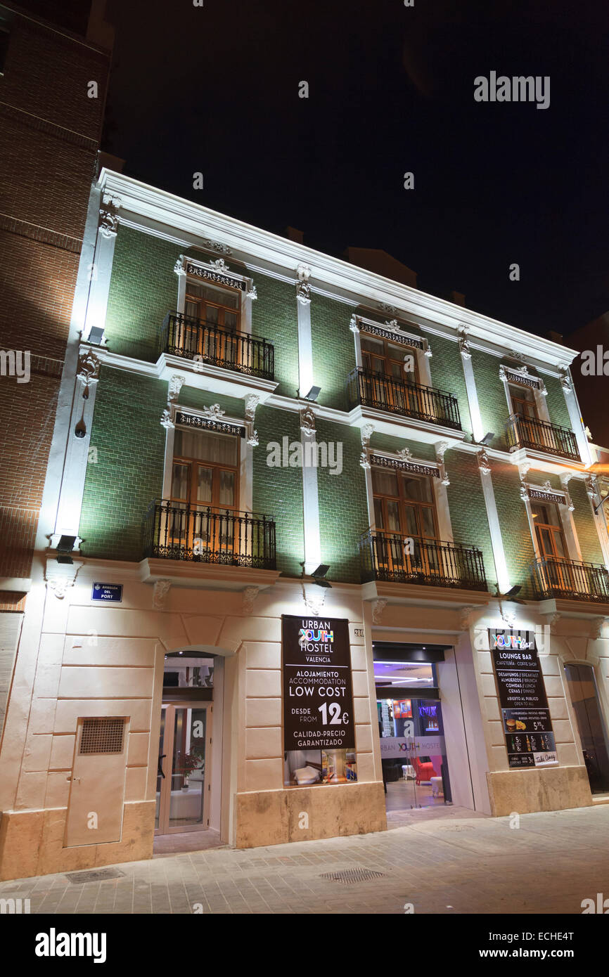 Exterior of Urban Youth Hostel in Valencia Spain at night - Stock Image