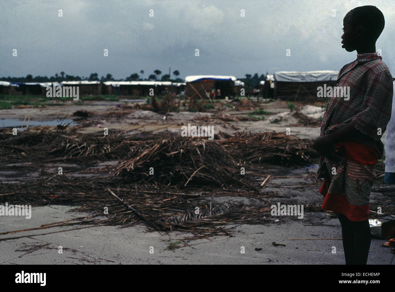VOA-1 Refugee camp washed away in storms in Monrovia Liberia 1993 - Stock Image