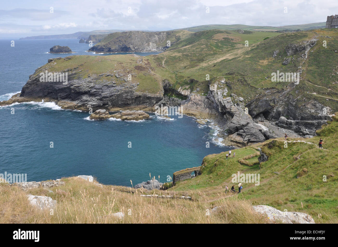 Ruins of Tintagel Castle, on the North Cornwall coast - Stock Image