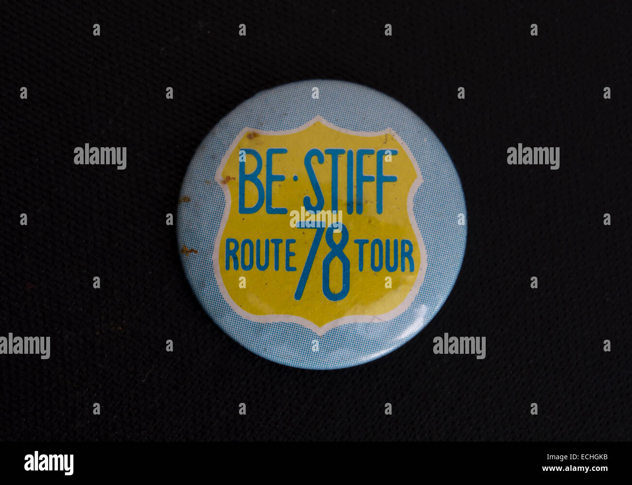 lapel badge souvenir of the 1978 be stiff route 78 tour, featuring bands signed to stiff records - Stock Image