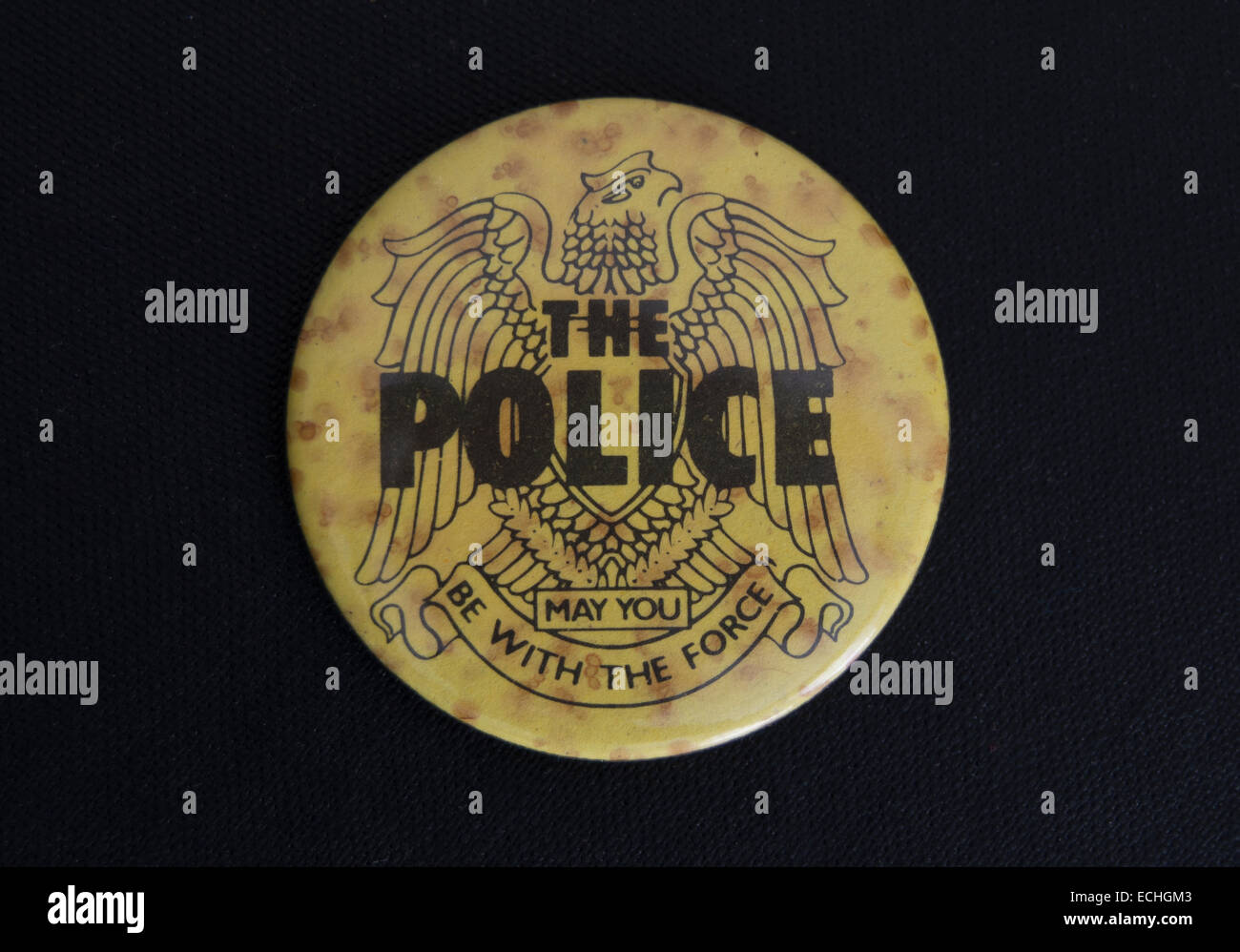 lapel badge promoting the 1970s and 1980s rock band, the police - Stock Image