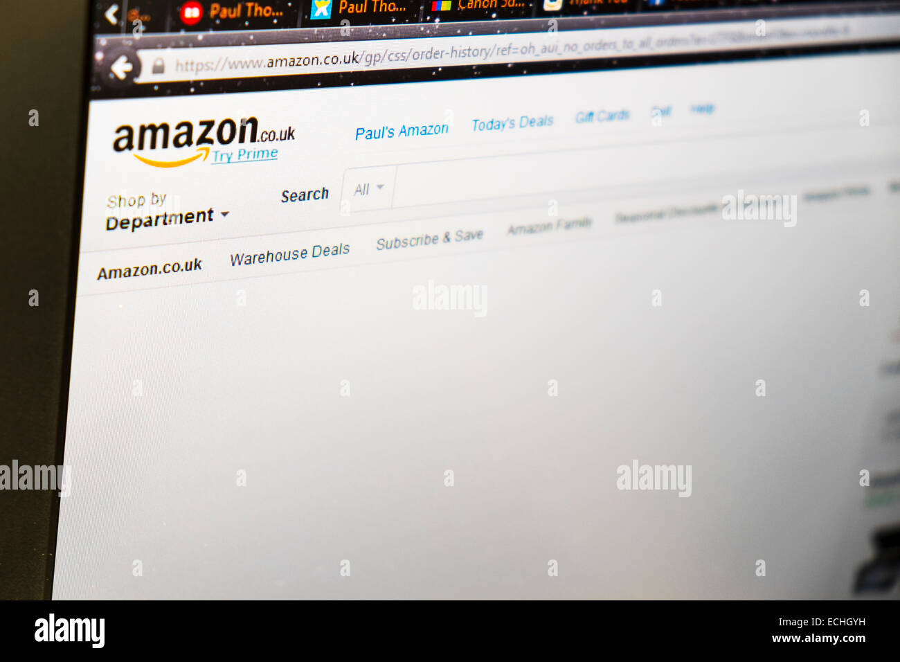 Amazon uk website search box online web searching department internet computer screen - Stock Image