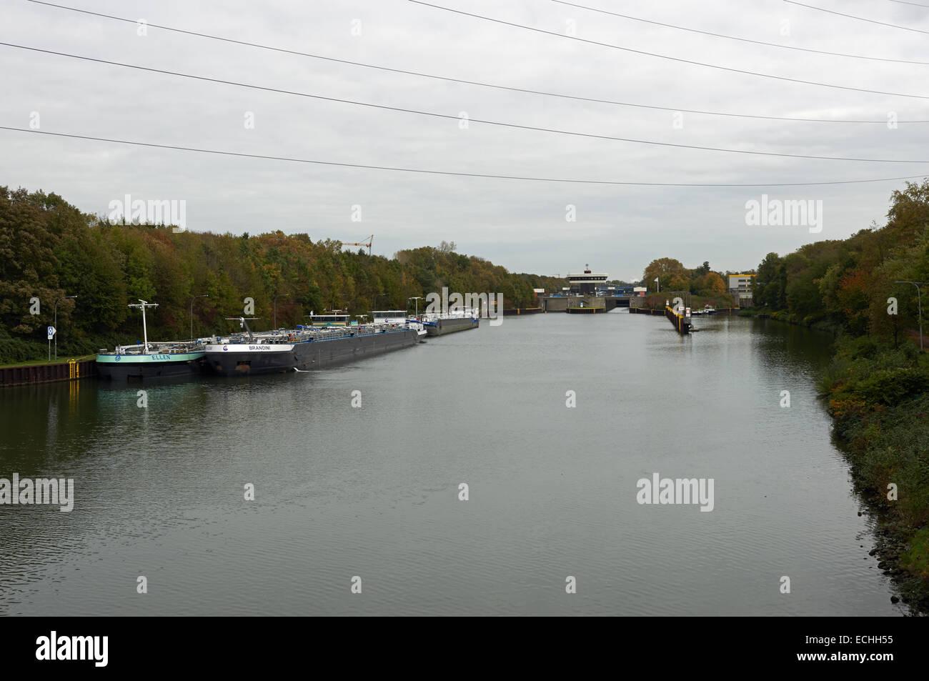 Oil tankers Gelsenkirchen-Horst North Rhine-Westphalia, Germany - Stock Image
