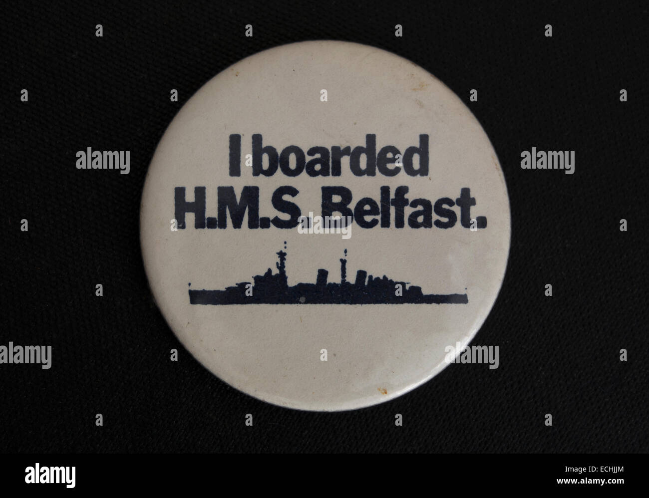 i boarded hms belfast, lapel badge souvenir from the tourist attraction ship on the river thames in london, england - Stock Image