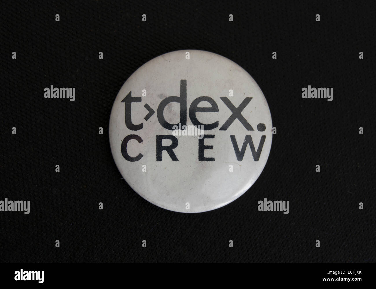 1980s lapel badge issued to the road crew of rock band the teardrop explodes - Stock Image