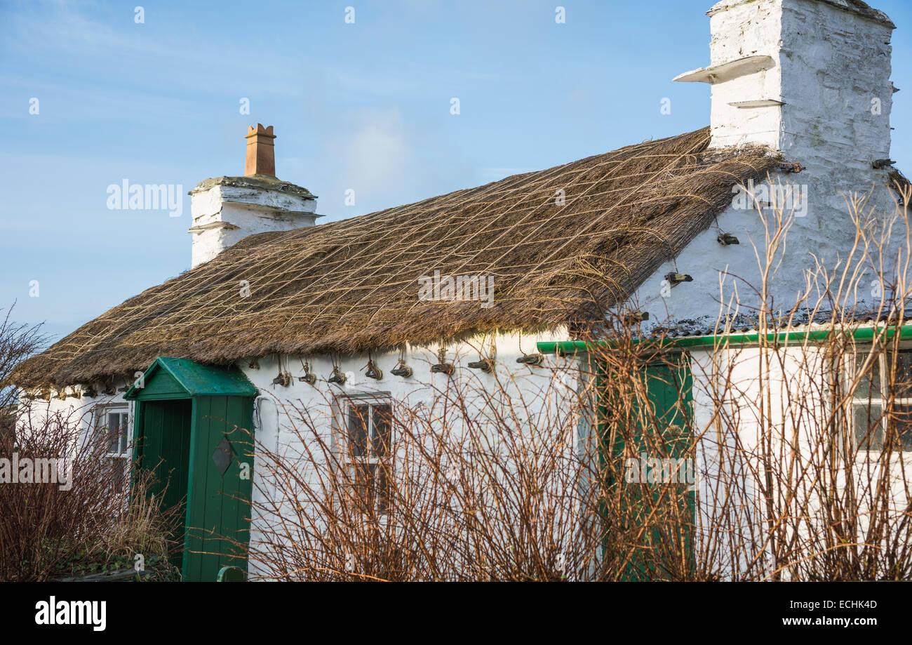 Manx cottage, Cregneash, Isle of Man. - Stock Image