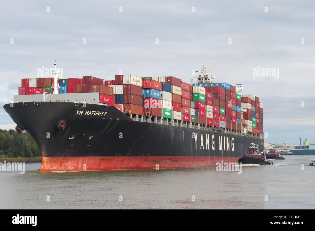 YANG WING 'MATURITY' Container ship belonging to the Taiwanese shipping company moving up the Savannah River, - Stock Image