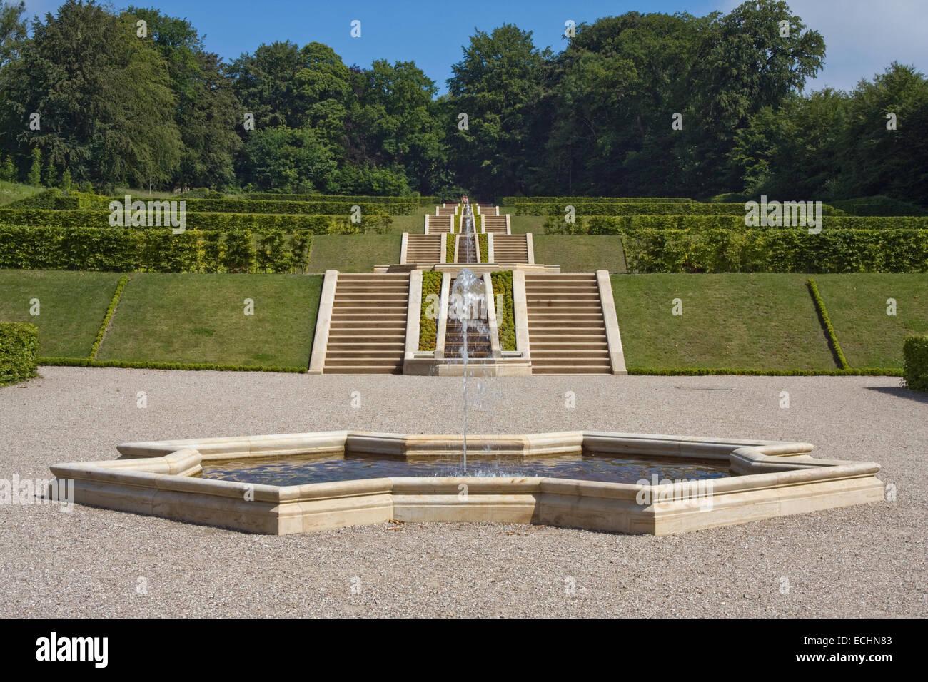 Europa, Deutschland, Schleswig Holstein, Schleswig, Schloss Gottorf, Neuwerkgarten, grosse Kaskadenanlage - Stock Image