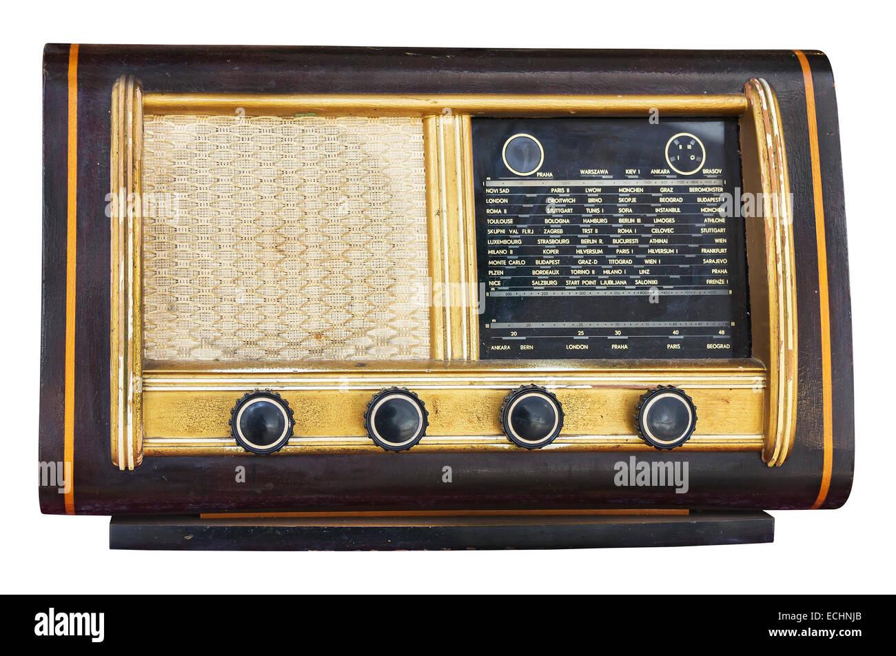 Old Vintage fashioned radio isolated on white background - Stock Image