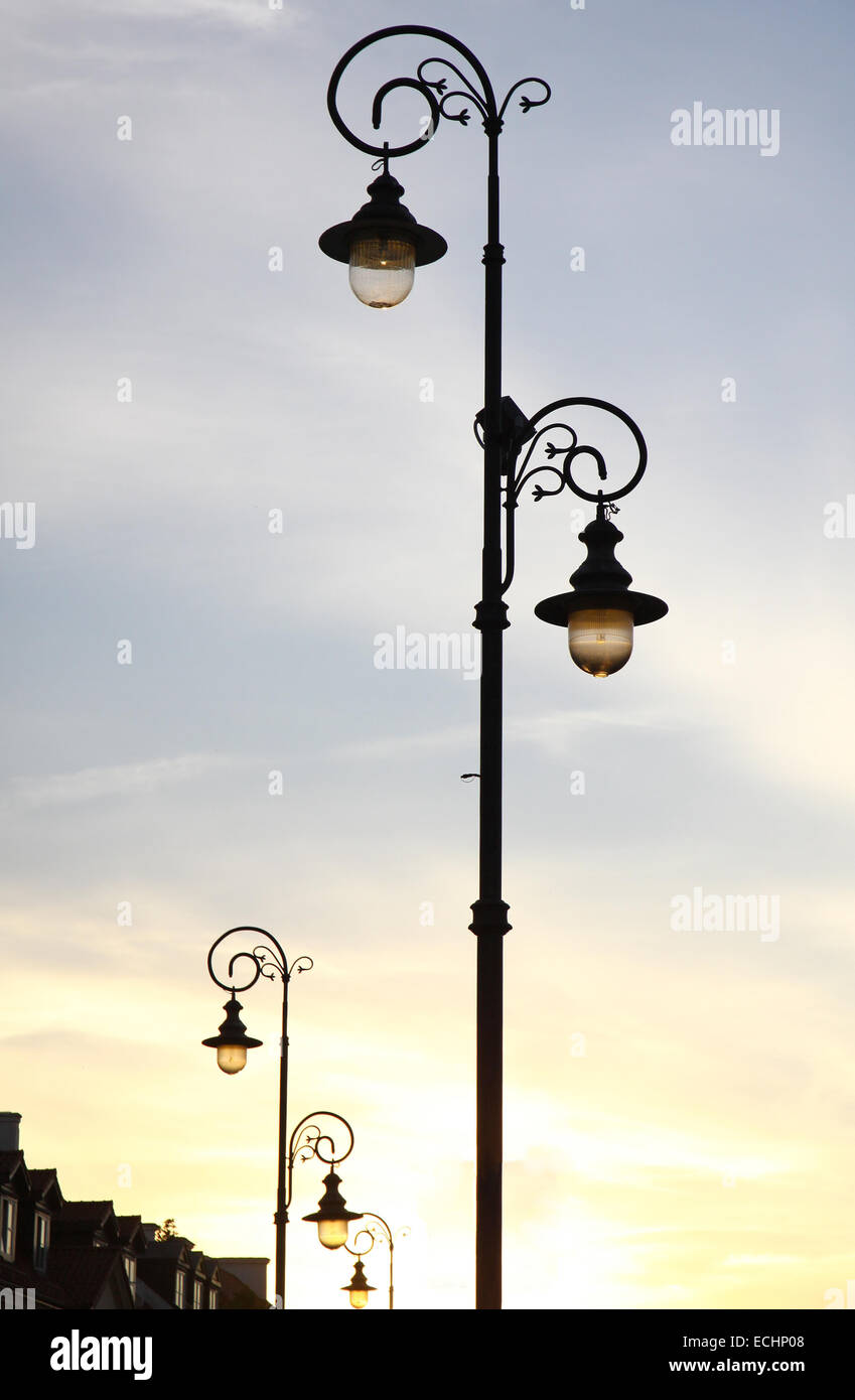 The retro-styled lamppost on the street of Warsaw, Poland - Stock Image