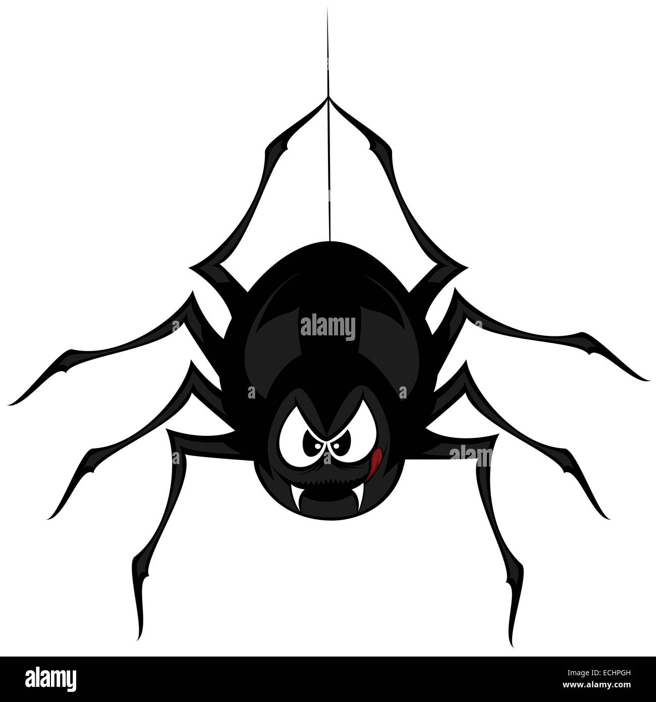Funny freaky spider - a black cartoon-style spider is snarling and licking mouth with angry eyes while hanging on - Stock Image