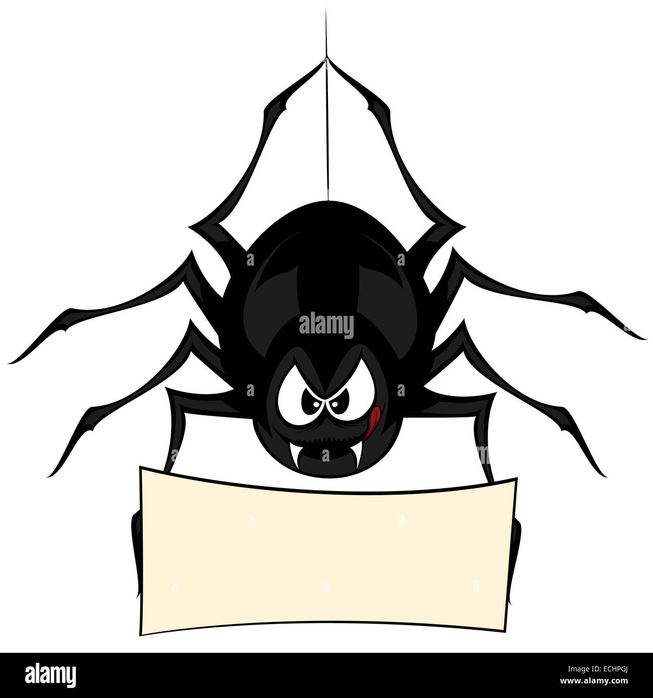a black cartoon-style spider is snarling and licking mouth while hanging on his spider thread and holding a bulletin - Stock Image